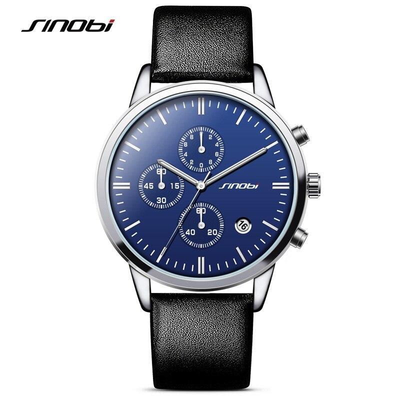SINOBI Mens Geneva Watches Luxury Top Brand Chronograph Men's Big Dial Designer Quartz Wristwatches Male Relogios Masculino 2018