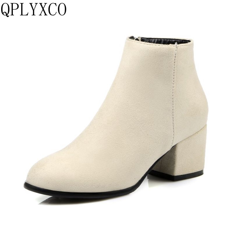 QPLYXCO 2017 Simple fashion Big &small Size 32-45 Autumn Winter Boots shoes Women pointed toe zipper short Boots High Heel C9-8