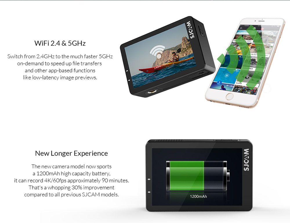 SJCAM SJ8 Series Action Camera SJ8 PRO 4K 60fps Touch Screen with Anti  Shake WIFI 1200mAh Baery Waterproof Sports Camera