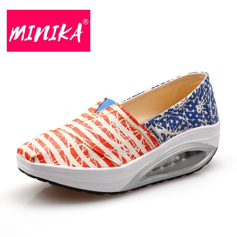 MINIKA 2017 Nueva Mezcla de Colores Rayas Mujeres Agitar Zapatos de - Zapatos de mujer - foto 1