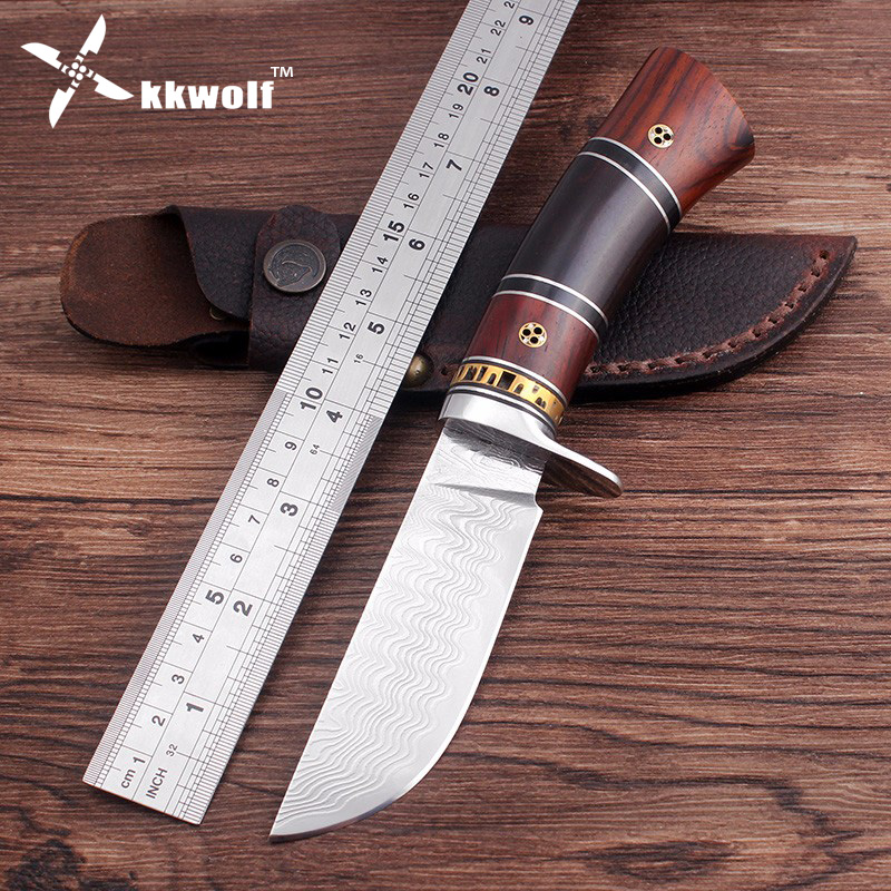 KKWOLF Handmade Damascus steel fixed blade hunting knife camping Tactics survival knife 62HRC EDC tool best gift free shipping  цены