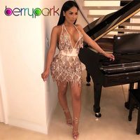 BerryPark High Quality Party Club Sexy Dress 2019 New Gold Sequin Tassel Crop Top + Skirt 2 Piece Set Night Out Matching Outfits