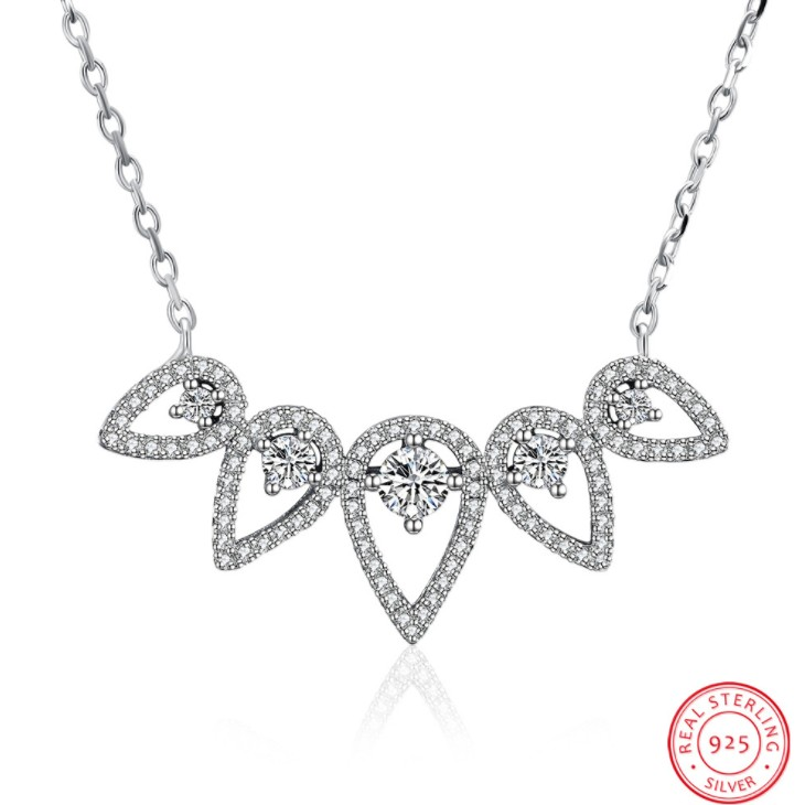 HOT Fashion jewelry Best Quality 100% 925 silver Crystals From Swarovski Stylish personalized zircon drop necklace For Wedding stylish artificial crystals rhinestones oval necklace for women
