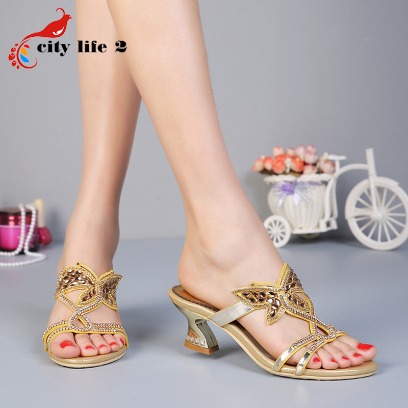 High Heels Sandals font b Women b font Genuine Leather Summer 2015 New Female Slippers Butterfly
