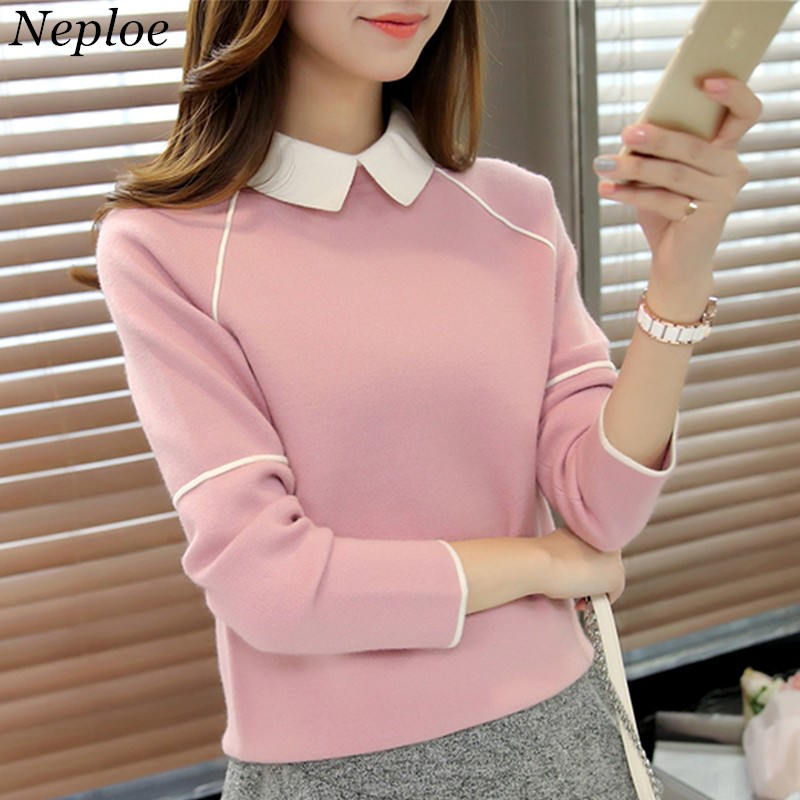 Neploe Collar Sweater Jumper Patchwork Pullover Bottoming Long-Sleeve Contrast-Color
