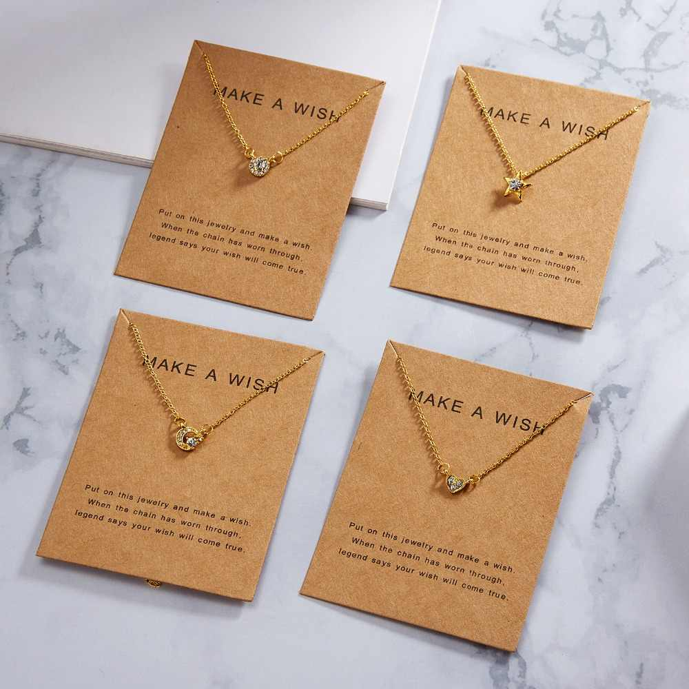 Golden Plated Clover Make a Wish Love Alloy Clavicular Bones Circle Heart Pendant Short Chocker Necklace Mother's Day Gift