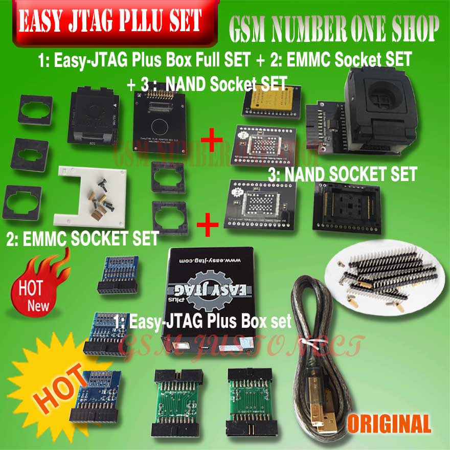 Original nouvelle version ensemble complet facile Jtag plus boîte facile-Jtag plus boîte + EMMC socket + NAND socket