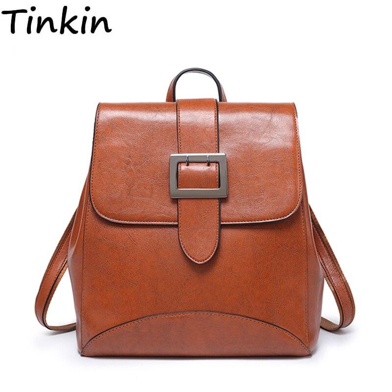 Tinkin Multifunzionale a duplice uso Delle Donne DELL'UNITÀ di elaborazione di cuoio zaino Ragazze borsa da viaggio degli studenti Zaino