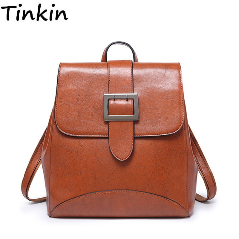 Tinkin Multifunctional Dual-use Women Pu Leather Backpack Girls Student Backpack Travel Bag