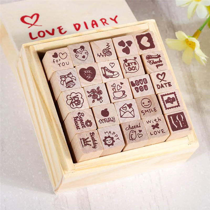 25Pcs/Set DIY Cute Lovely Cartoon Wood Rubber Stamp DIY Writing Scrapbooking Stamps Gifts &Wood Box 2 Color cartoon wood