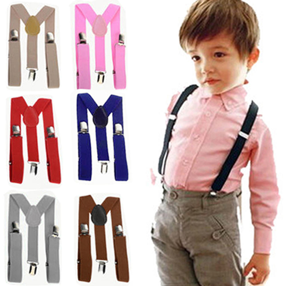 22 Colors Child Adjustable Elastic Y-Back Suspenders Clip-On Braces Girls Boys Kids Wedding Accessories