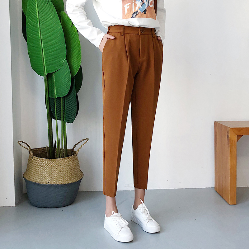 Image 3 - Women's Casual Harem pants Spring Summer Fashion Loose Ankle length Trousers Female Classic High Elastic Waist Black Camel Beige-in Pants & Capris from Women's Clothing
