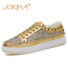 Women Sneakers Gold Glitter Autumn Shinny Bling Fashion Casual Shoes Plus Size 43 Glossy PU Leather Sneaker Shoes Woman Female