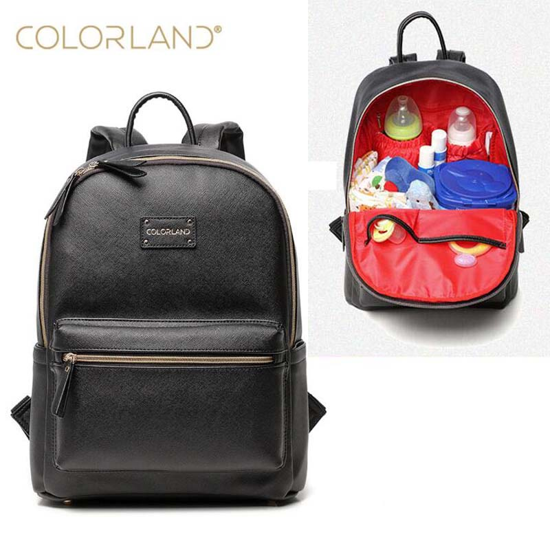 COLORLAND Diaper Bag Backpack Genuine Leather Multifunctional Waterproof Maternity Bag Baby Travel Bag-large Capacity Durable