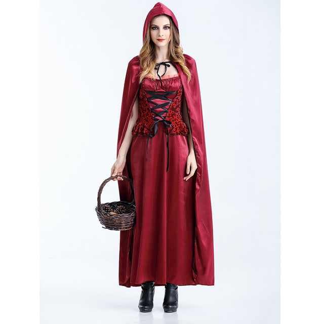 cosplay little red riding hood costume plus size women costume for adult halloween gift party dress