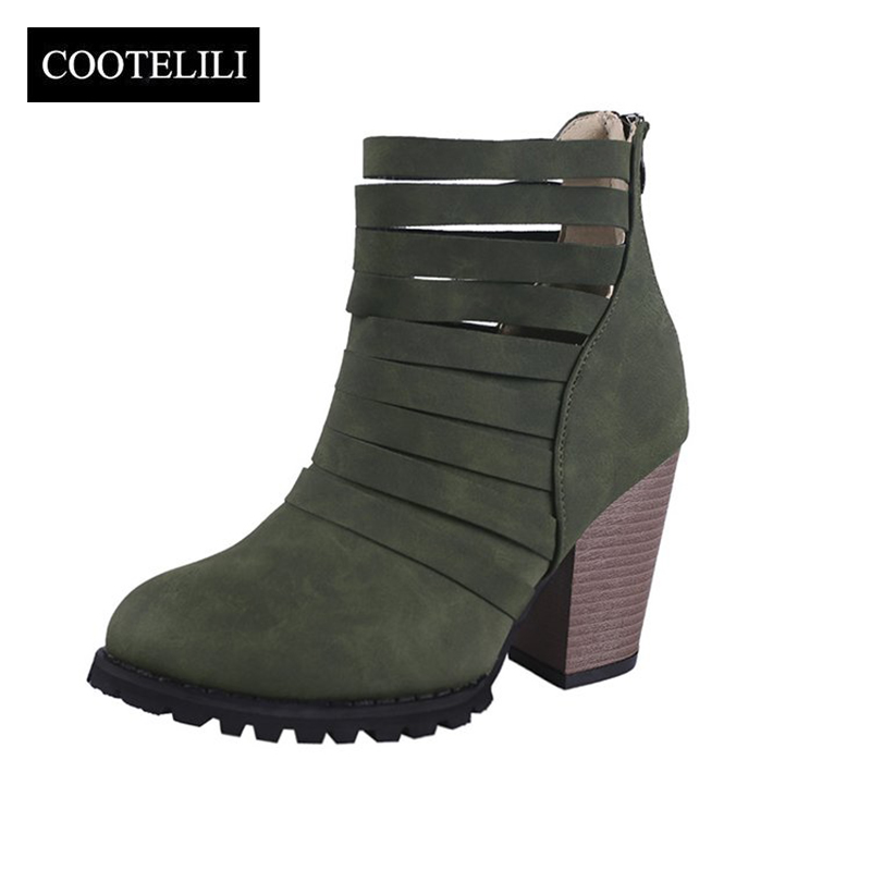 COOTELILI Ankle-Boots Heel Hollowed-Out-Shoes Fashion Woman Rubber Pu for 9cm Pumps 40-41/42/43