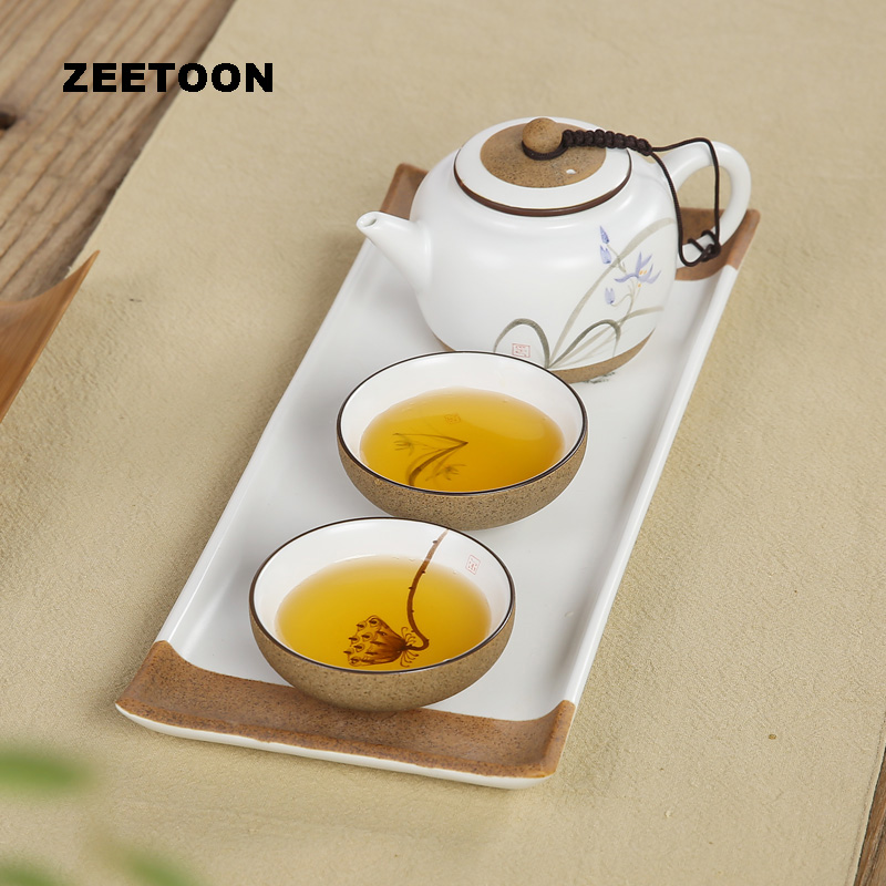 Japanese Coarse Pottery Hand Painted Lotus Tea Set Puer Black Tea Teiguanyin Oolong Kung Fu Tea Sets Teapot Teacup Tea Tray New