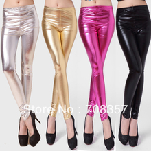 New Fashion Female Slim font b Leggings b font Shinny Long Pants Dance Gilt Cloth Long