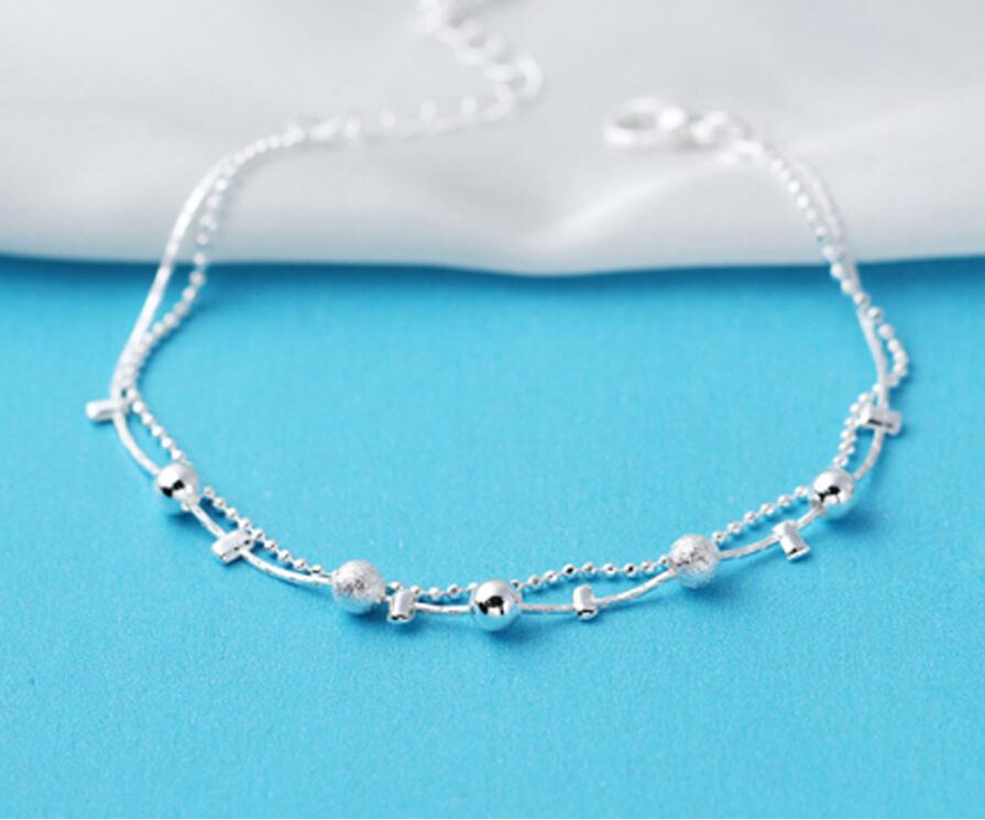 Silver Jewelry Customized Wire Bead Bracelet Korea Charm Chic New Elegant Exquisite Accessories Bangle