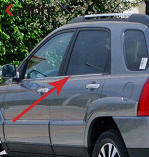 For Kia Sportage 2005 2006 2007 2008 2009 2010 Stainless Steel Car Window Trim Frame Molding Cover Sticker Exterior Accessories