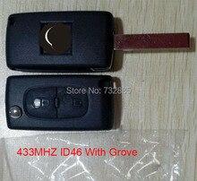 2 Кнопки Флип Ключ Дистанционный Ключ С ID46 Чип 433 МГц Для Peugeot 307 0536 Модель HU83 Лезвие С Groove