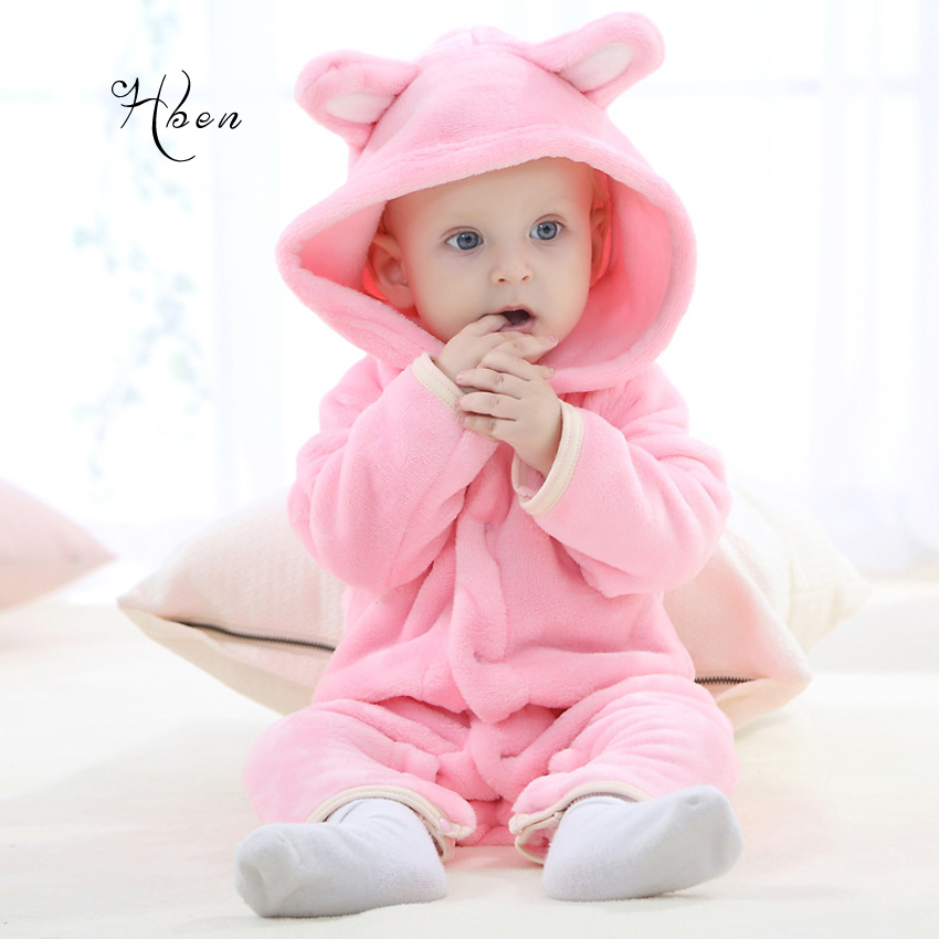 European And American Russia New Arrival Flannel Baby Clothes Winter White Pink Teddy Bear Baby Long-Sleeved Rompers Clothes
