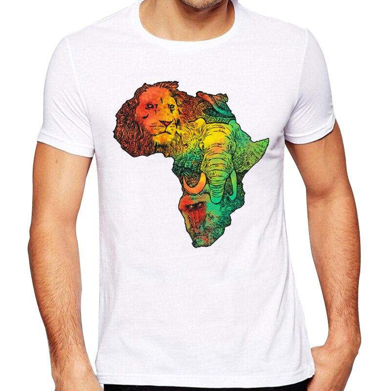 Men's 2018 Fashion Africa Map Design T Shirt High Quality
