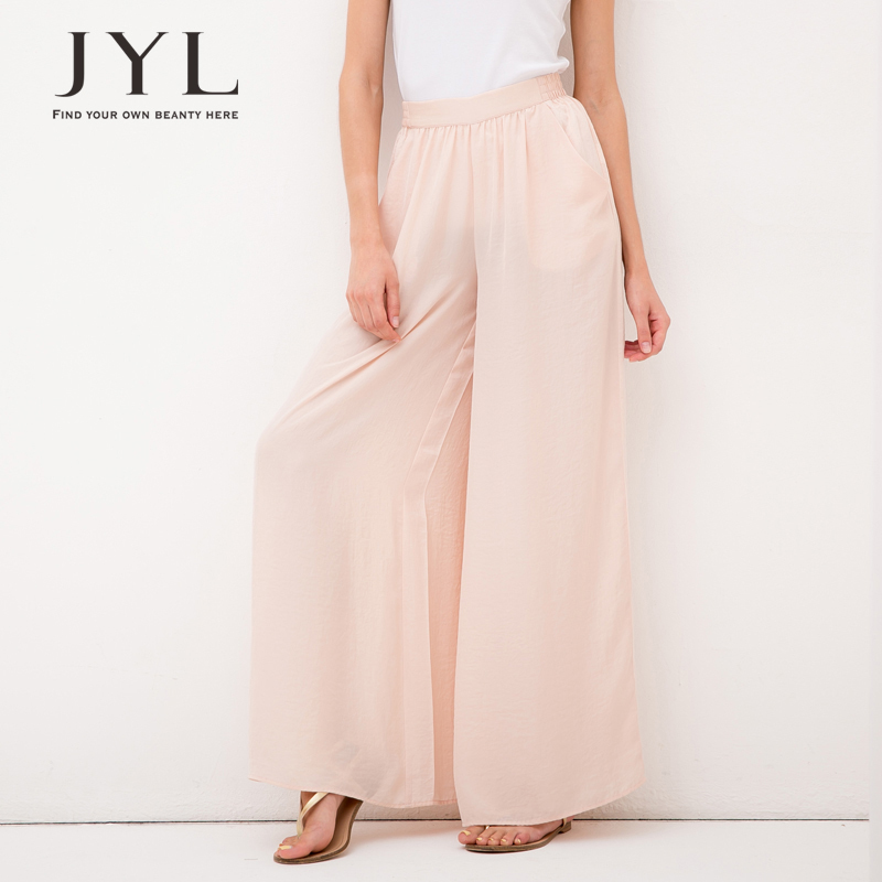 Palazzo pants women brand elastic waist high waisted pants,plus size solid color beach women,chiffon wide leg - JYL store