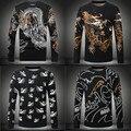 Moda padrão animal do estilo Chinês impressão grossas homens quentes camisola 2016 Outono & Inverno qualidade de lã camisola de malha dos homens M-4XL