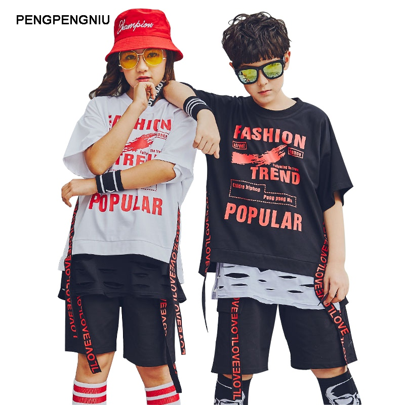 PENGPENGNIU Street Dance Clothes for Boys 2018 Summer New Arrival Hip Hop T Shirt Shorts Two Piece Clothing Set for Girls