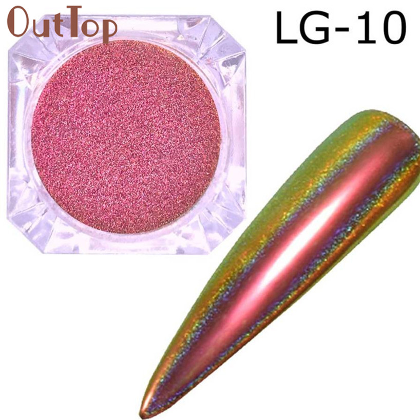 OutTop 2017  Made of cardboard Glitter Aluminum Flakes Magic Mirror Effect Powders Sequins Nail Nails Manicure Stickers  Aug29 monja 48 jar mix style nail art rhinestones beads glitter powder sequins flakes stickers 3d design decoration