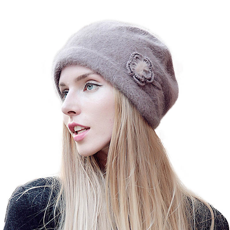 FS Women Winter Beanie Hat Rabbit Fur Wool Knitted Hat Solid Colors Gorros Cap Bobble Hat Bonnet Warm Skullies in Women 39 s Skullies amp Beanies from Apparel Accessories
