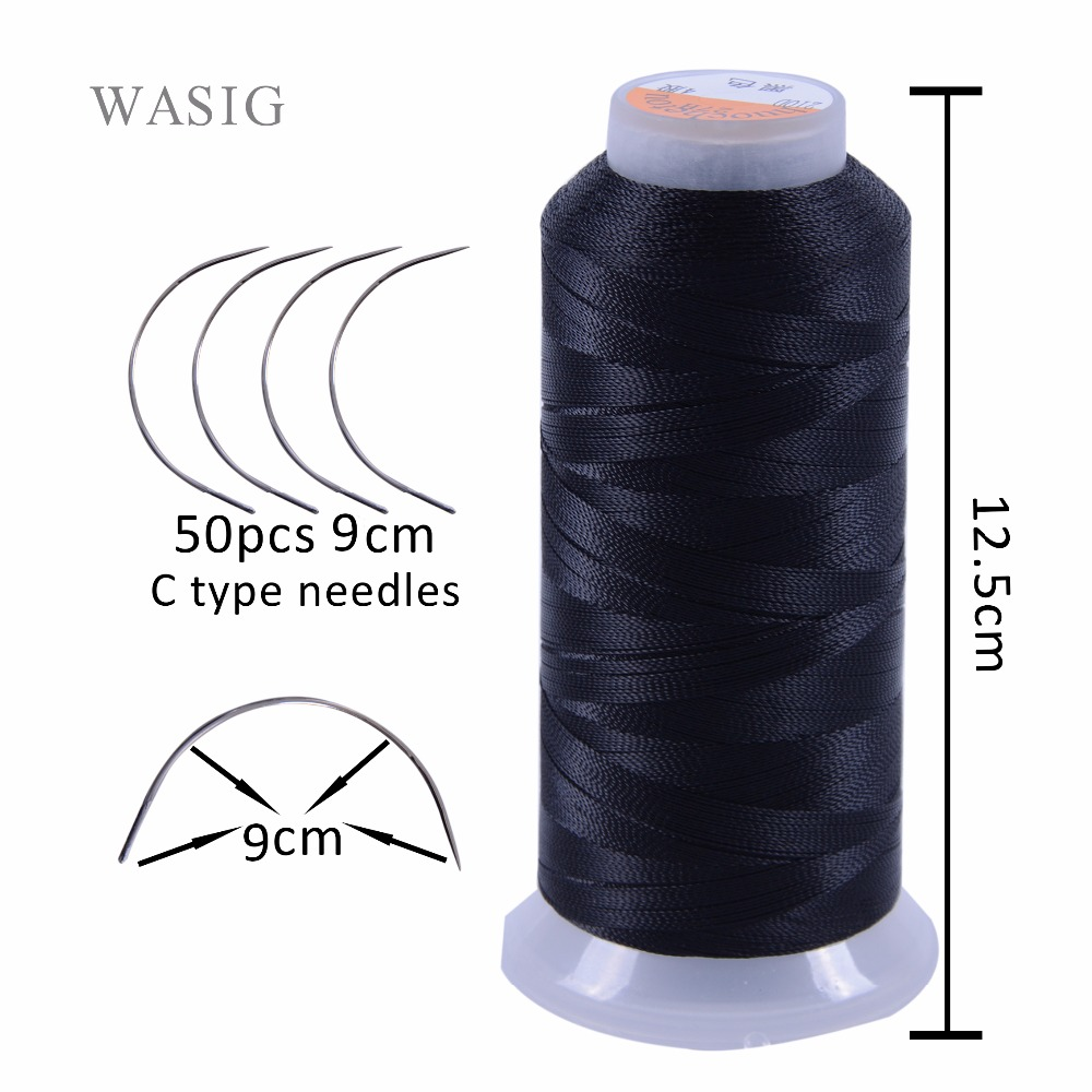 Free shipping 50pcs 9cm length C type weaving needles Curved needles and 1 roll Spools of weaving thread for hair weft