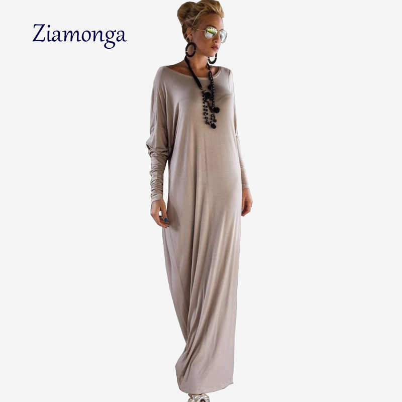 Ziamonga autunno inverno maglia a manica lunga dress o-collo side split piano lunghezza maxi dress solido femminile allentato casuale lungo dress