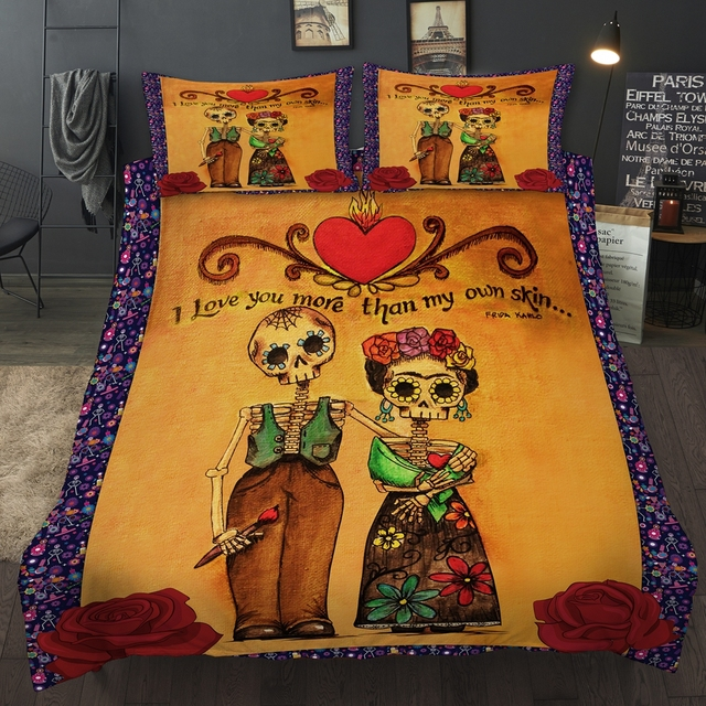 CUTE LOVE SKULL BEDDING SET