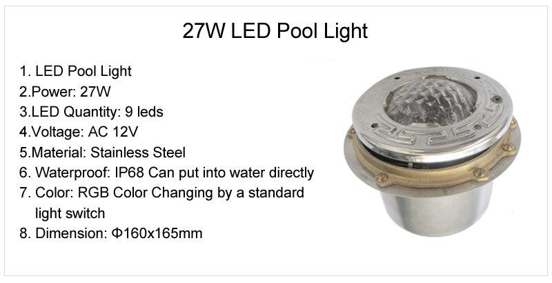 27 Watt 9 Watt FÜHRTE Unterwasser pool Licht Piscine 12 Volt 50 Fuß kabel edelstahl mit Nische Leuchte RGB Blau weiß durch DHL 2 stücke - 6