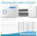 Chuangkesafe . Chuango B11 Dual network PSTN and GSM burglar Security Alarm System P377kit