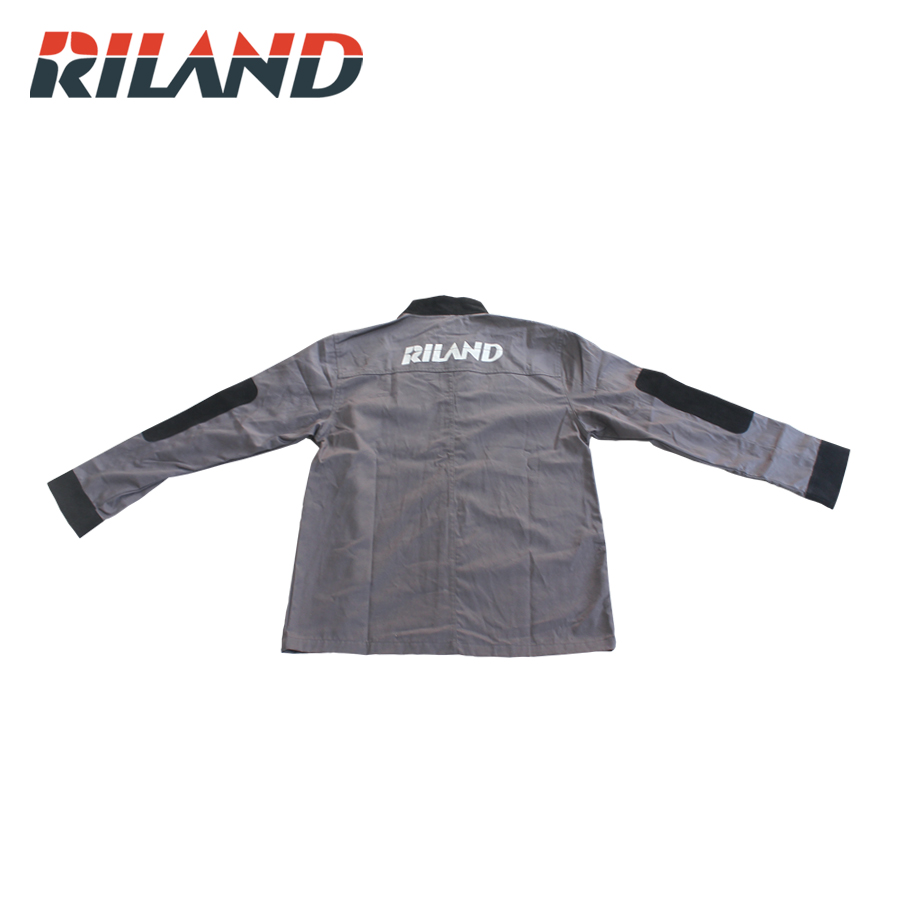 RILAND Durable Leather Welding Coat Protective Clothing Apparel Suit Welder Workplace Safety Clothing