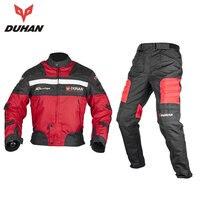 DUHAN Motorradjacke Motocross Hosen Männer Blouson Moto Off-Road Racing Körper Rüstung + Reiten Kleidung Set schwarz blau rot