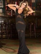 Hot Women mermaid mesh long Sexy  lingerie babydoll 705 sexy transparent black pajamas Club dress