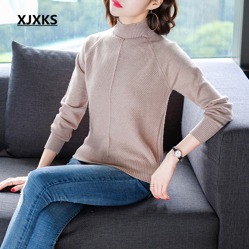 Blends Soft Warm khaki Xjxks New Womens Knitted Sweater 2018 yellow black Women Sweaters Beige Pullovers Female Gift Wool Arrivals For Bwq1wY