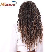 AliLeader, 7 цветов, синтетические накладные волосы на крючке, затененные косички Вьющиеся 12/18 дюймов Nu Locs вязаные для наращивания 20 нитей богиня искусственные локоны в стиле Crochet волос