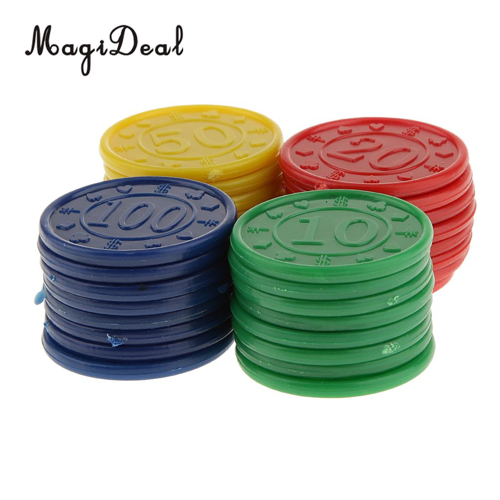 MagiDeal High Quality 32Pcs Plastic Poker Chips 31 Dia for Fun Family Party Bar Club Game Novelty Gifts - Red Green Blue Yellow