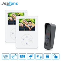 Jeatone 4 TFT LCD Display Video Intercom Doorphone Door Intercom 1200TVL HD Outdoor Camera With 2 Indoor Monitors Interfone