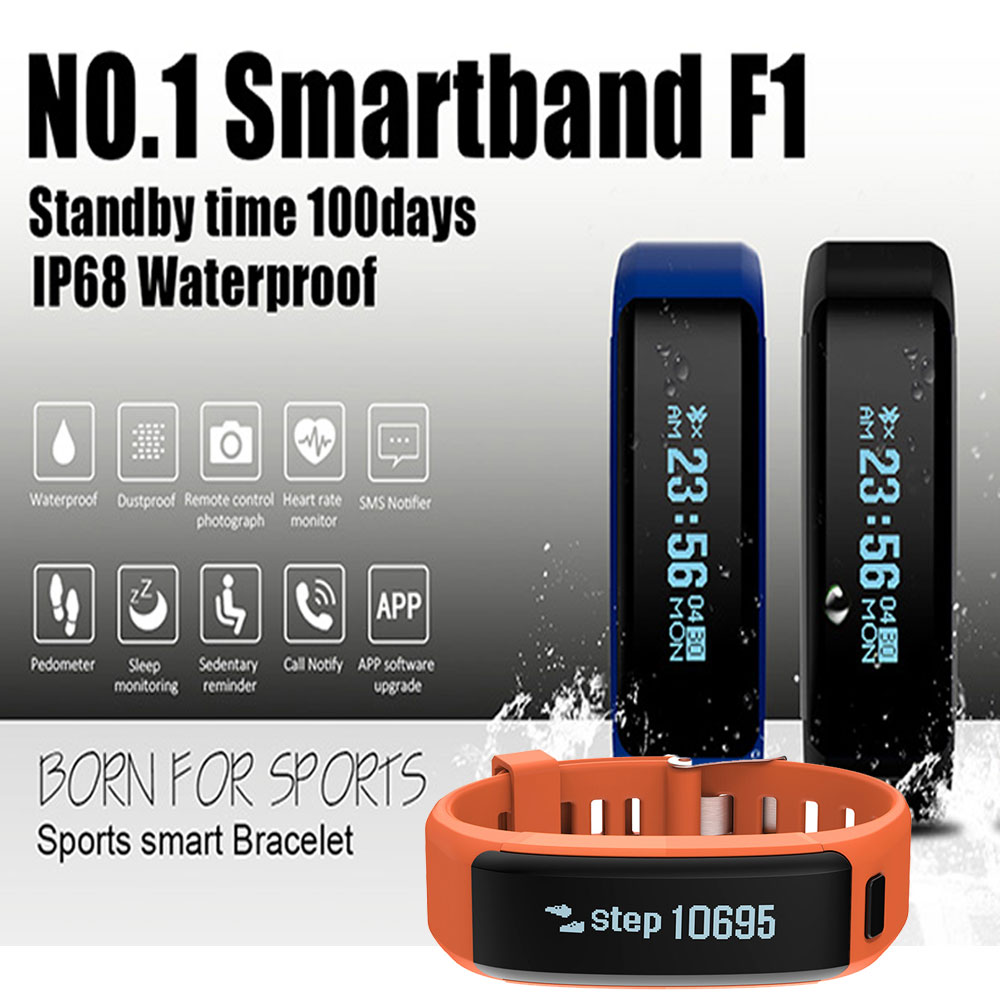 Original No 1 F1 Smartband Ip68 Waterproof Smart Wristbands Sport Wristband Plus Bracelet Color Screen Band Intelligent Calls Reminder Heart