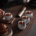 Керамический чайный сервиз Кунг-фу Серебряная чайная чашка с прокладкой мастер чашка 999 Чистое серебро расписанный вручную индивидуальный ...