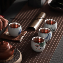 Ceramic Tea Set Kung Fu Silver Cup With Pad Master 999 Pure Handpainted Customized Logo