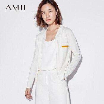 Amii Minimalist Casual Women Cardigan 2019 Contrast Color Open Stitch Long Sleeve Female Knit Cardigan Sweaters