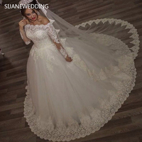 SIJANE Full Sleeve Princess Lace Ball Gown Robe De Mariee See Through Back Sexy Bridal Dresses 0758