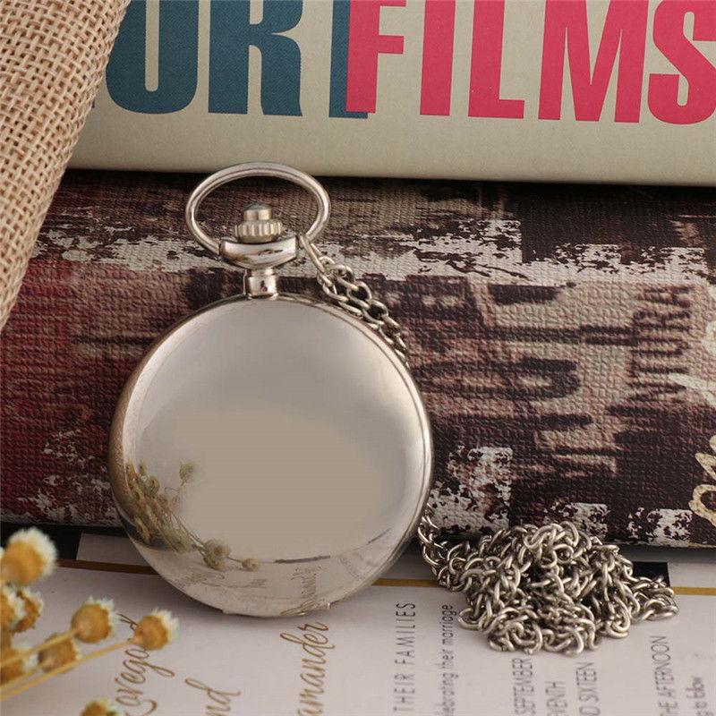 Retro Silver Roman Numeral Steampunk Quartz Pocket Watch For Men Women Antique Red Digital Dial Necklace Pendant Chain Clock